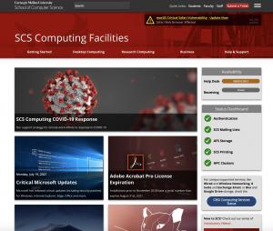Screenshot of SCS Computing website